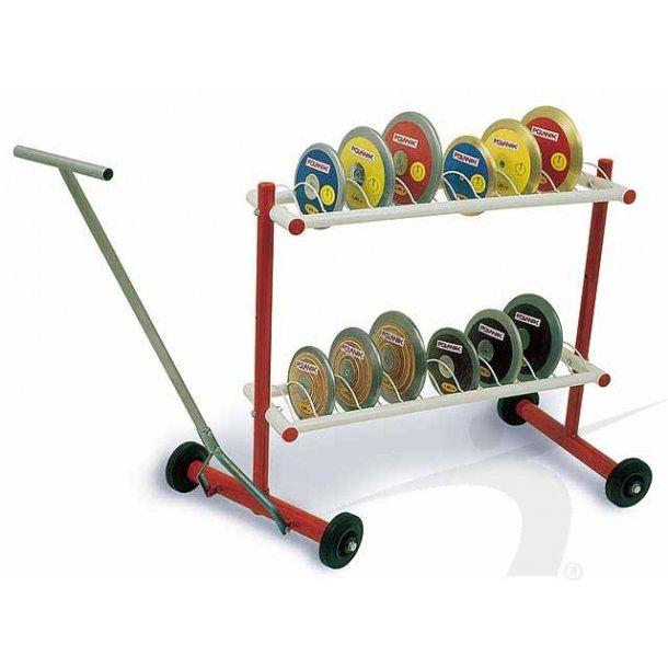 Diskos stativ på hjul med plads til 26 stk diskos