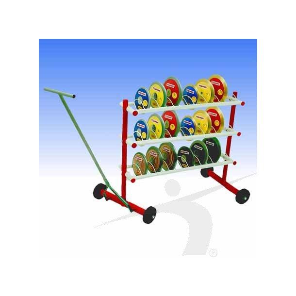 Diskos stativ på hjul med plads til 36 diskos